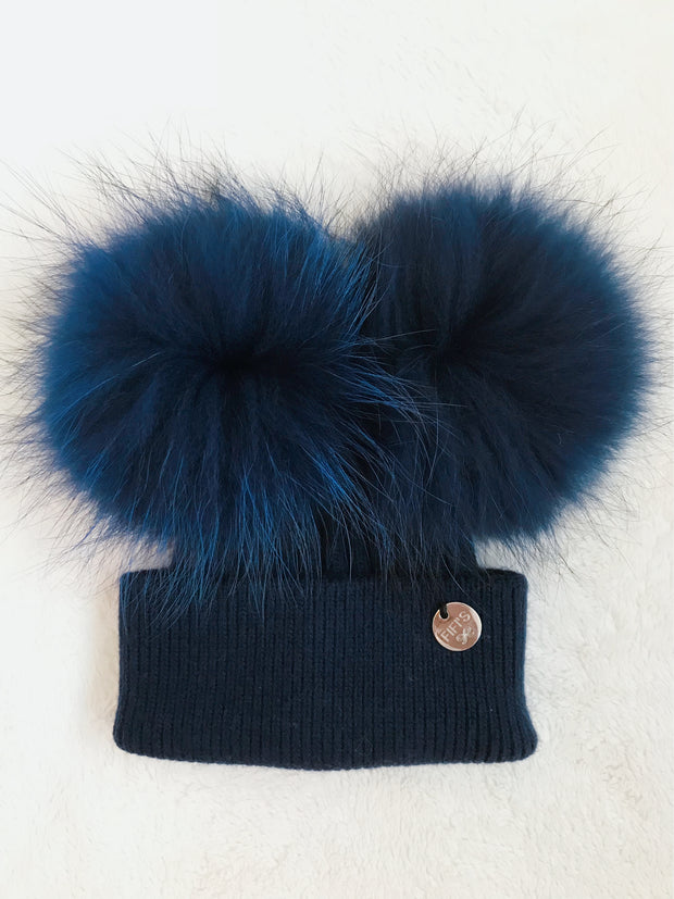 Toddler Cashmere double -  Navy with matching pom