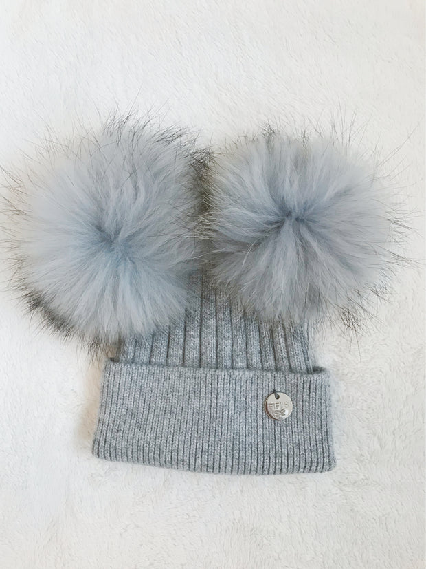 Baby Cashmere double -  Grey with matching pom