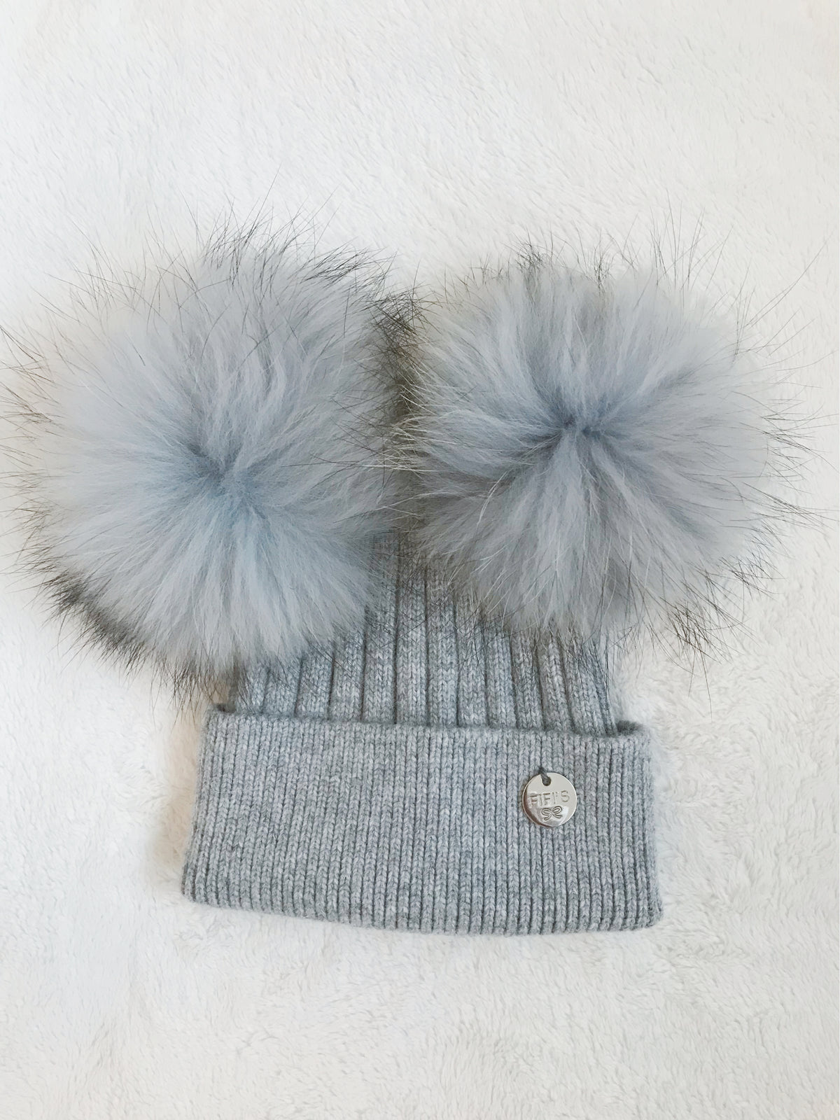 Toddler Cashmere double -  Grey with matching pom