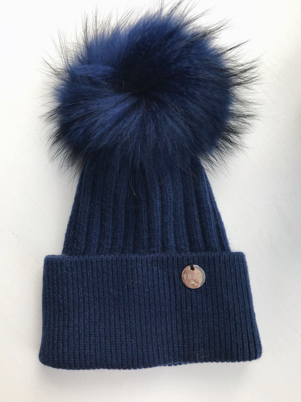 Cashmere single - Navy with matching pom
