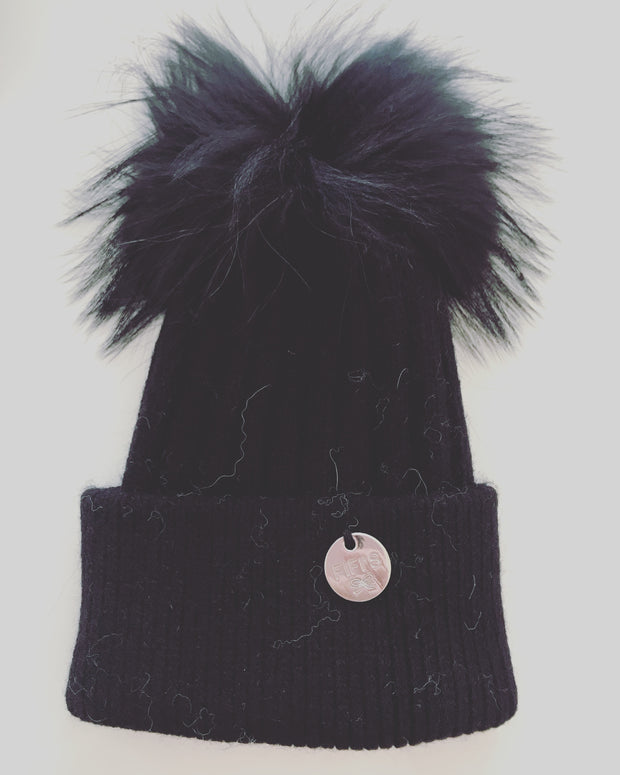 Toddler Cashmere single - Black with matching pom
