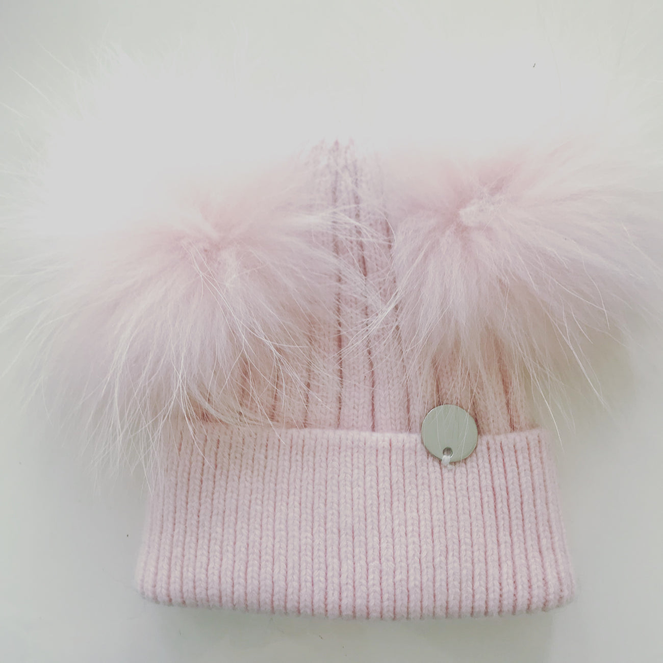 Toddler Cashmere double - Baby Pink with matching pom