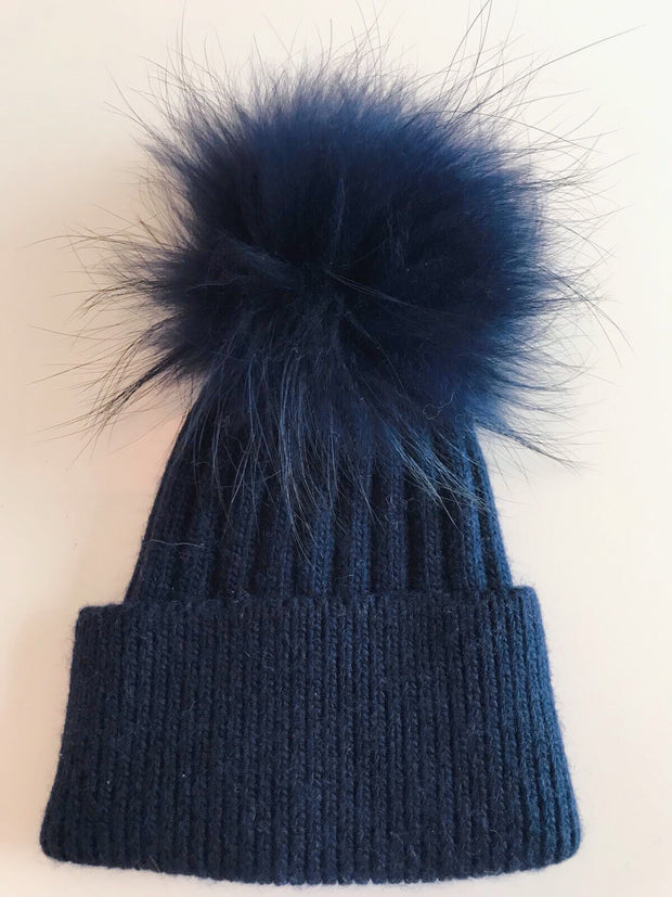 Toddler Cashmere single - Navy with matching pom
