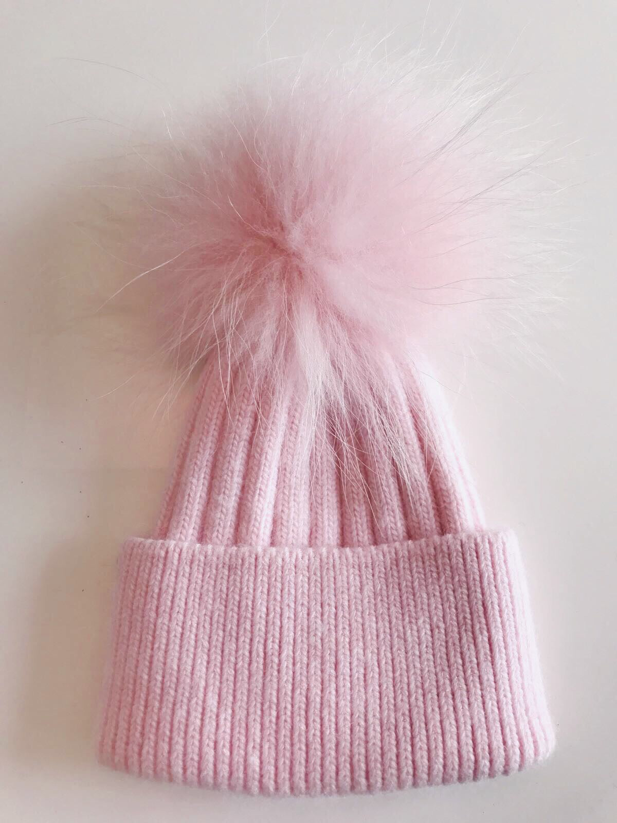 Toddler Cashmere single - Baby pink with matching pom