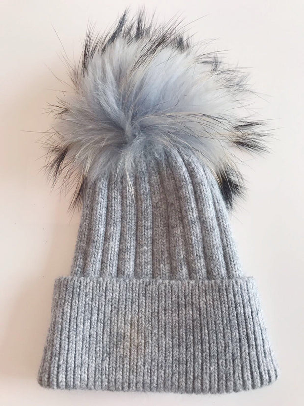 Toddler Cashmere single - Light grey with matching pom