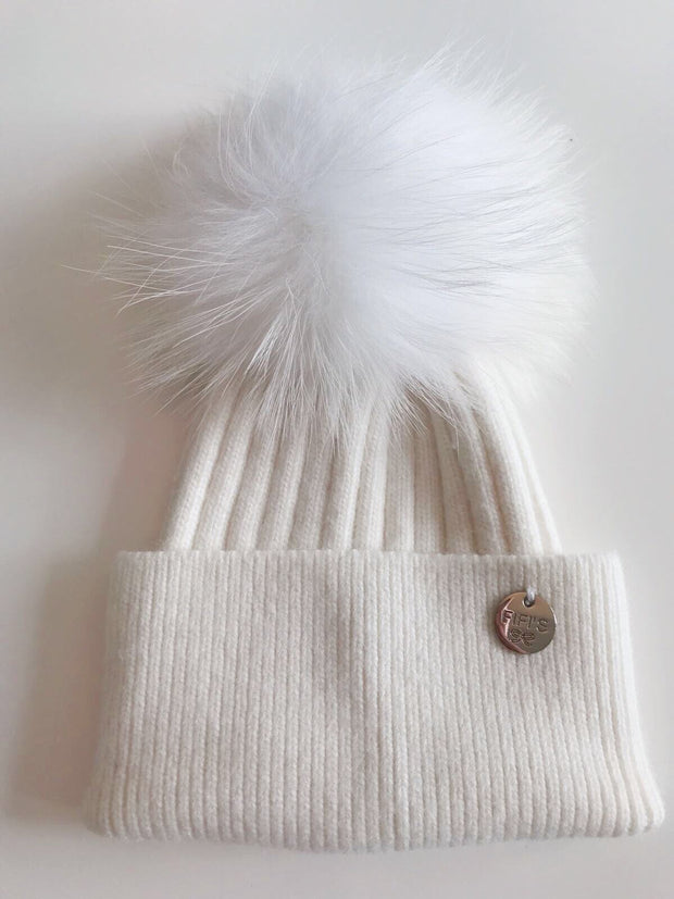 Cashmere single - White with White Pom