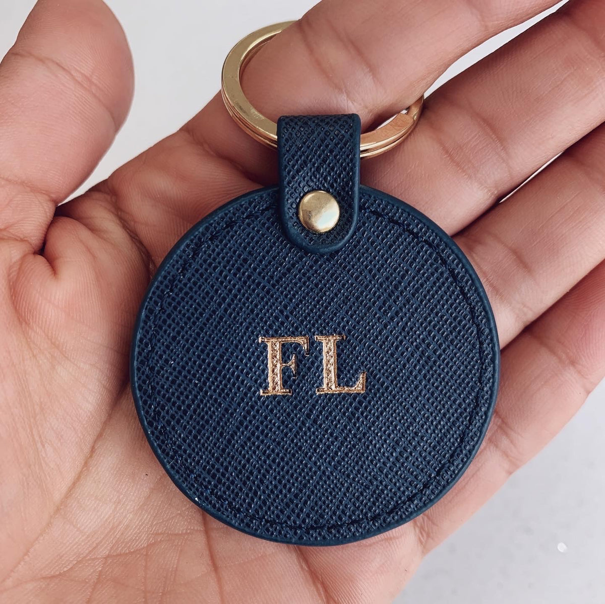 Navy Blue Saffiano Leather Keyring