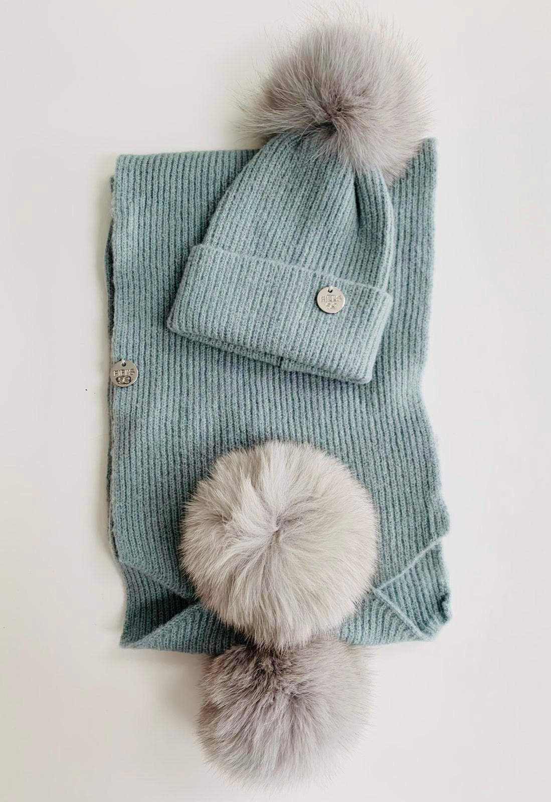 Children's hat and scarf set - Grey green