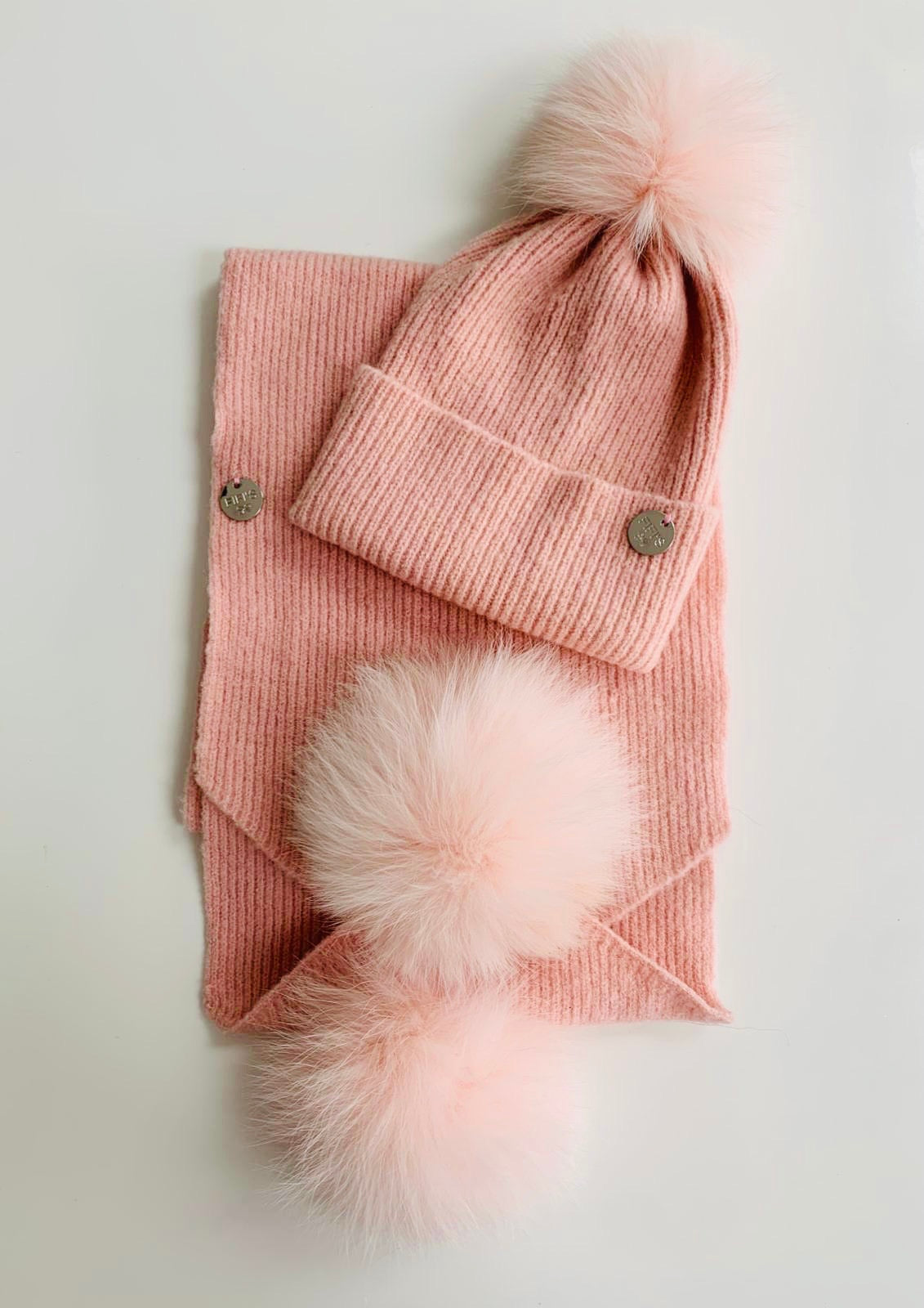 Children's hat and scarf set - Pink