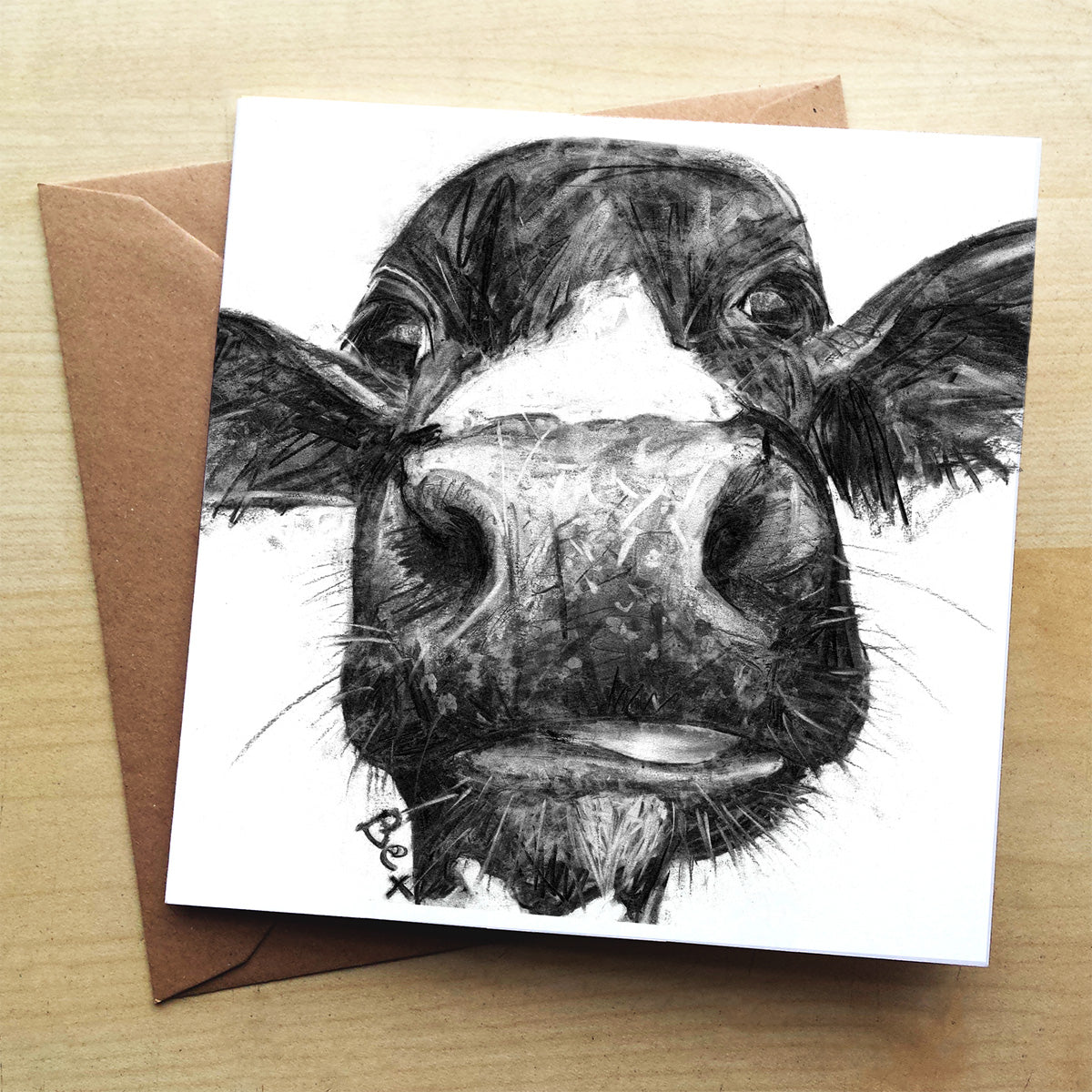 Charcoal Cow Premium greeting card | XOXO Florist Aberdeen
