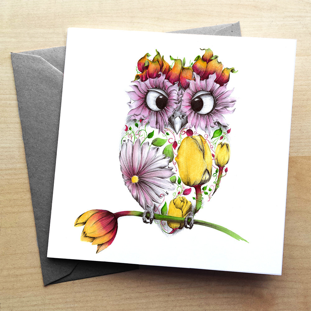Agnes the Owl premium greeting card | XOXO Florist Aberdeen