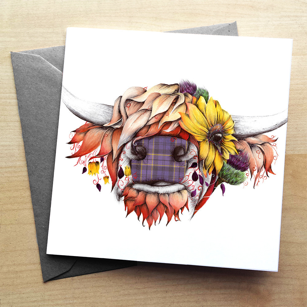 Sunny the Highland Cow greeting card | XOXO Florist Aberdeen