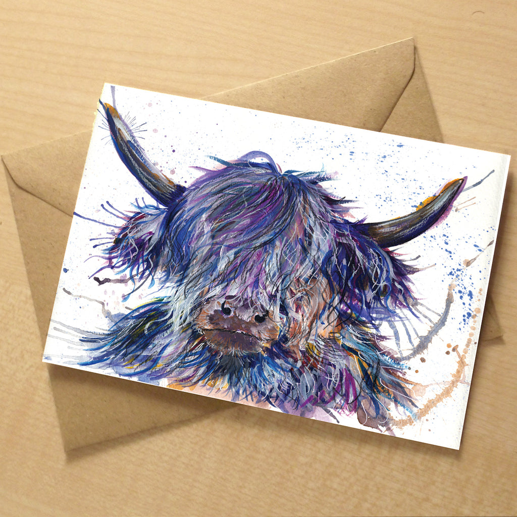 Splatter Scruffy Coo greeting card | XOXO Florist Aberdeen