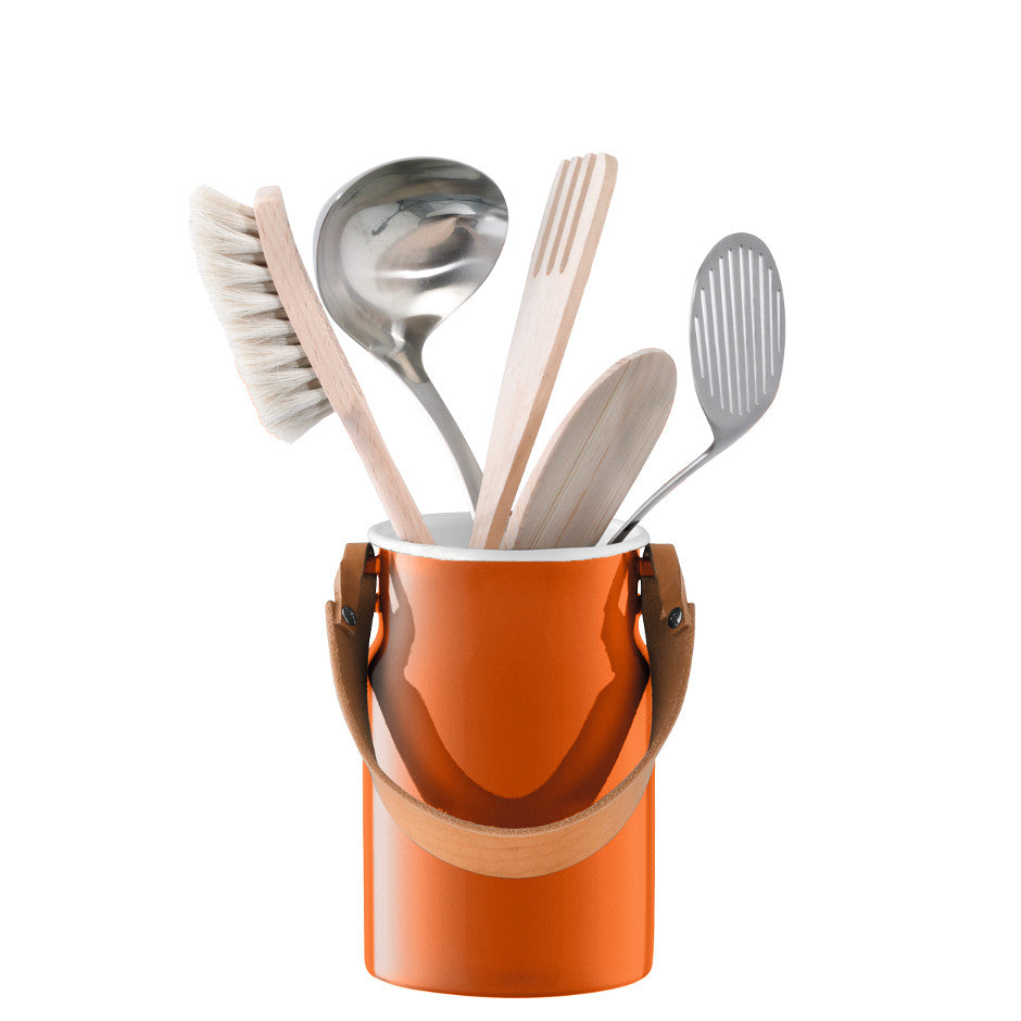 Utility Utensil Pot with Leather Handle - Pumpkin Orange