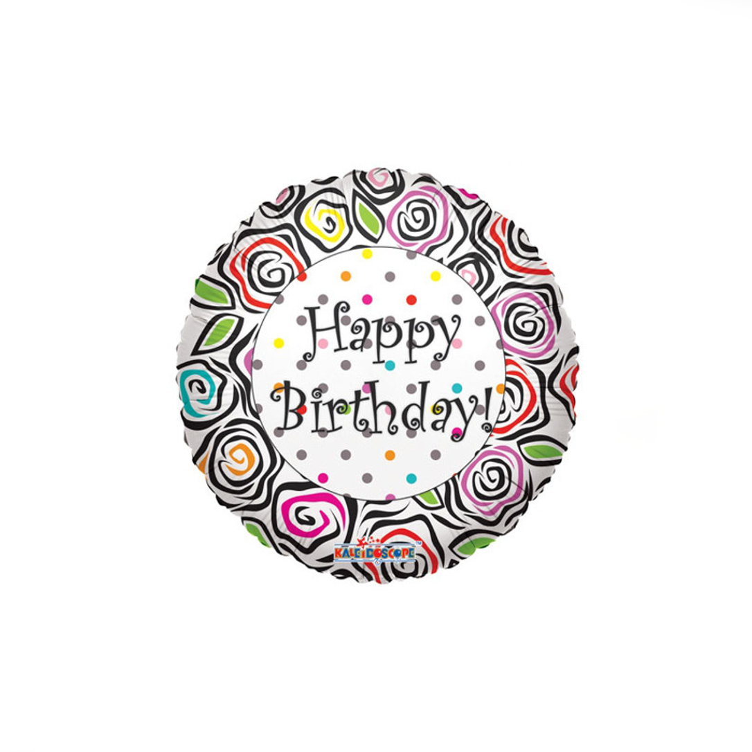 Happy Birthday Flower Print Balloon