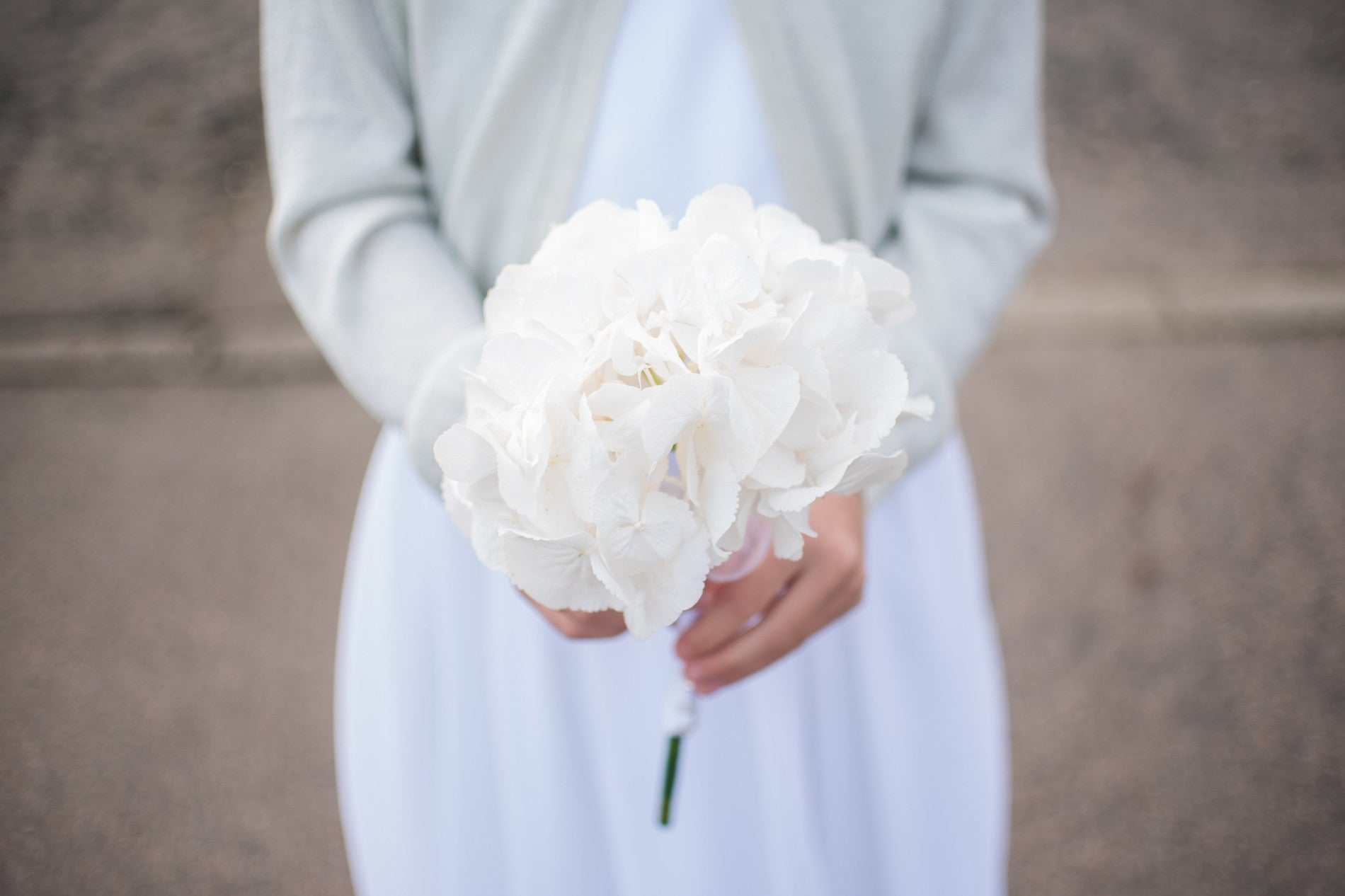 White Hydrangea Flower Girl Bouquets - Weddings Florist XOXO