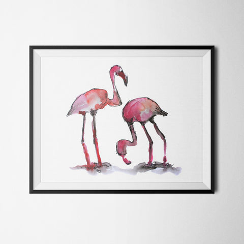 illustration à encadrer flamand rose aquarelle