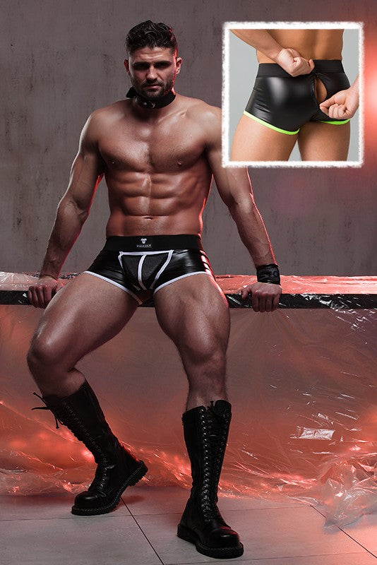 Youngero. Men's Fetish Trunks. Mesh Codpiece. Zippered Rear. Neon