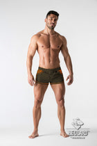 Beach Guard. Nylon Club Shorts with Contrasting Mesh Inserts