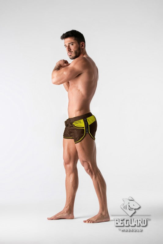 SALE BeGuard. Nylon Club Shorts with Contrasting Mesh Inserts