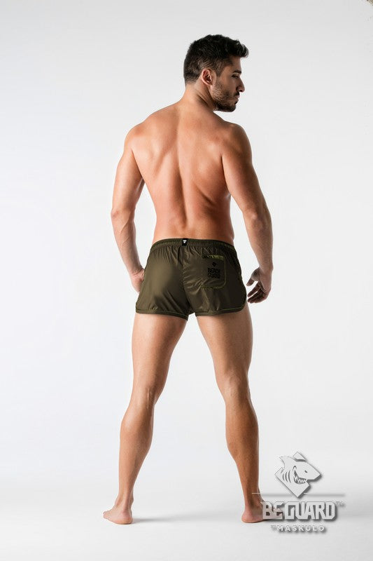 BeGuard. Nylon Club Shorts with Foil Piping Details