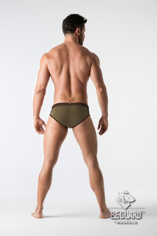 BeGuard. Swimming Briefs with Zip Imitation on the Front