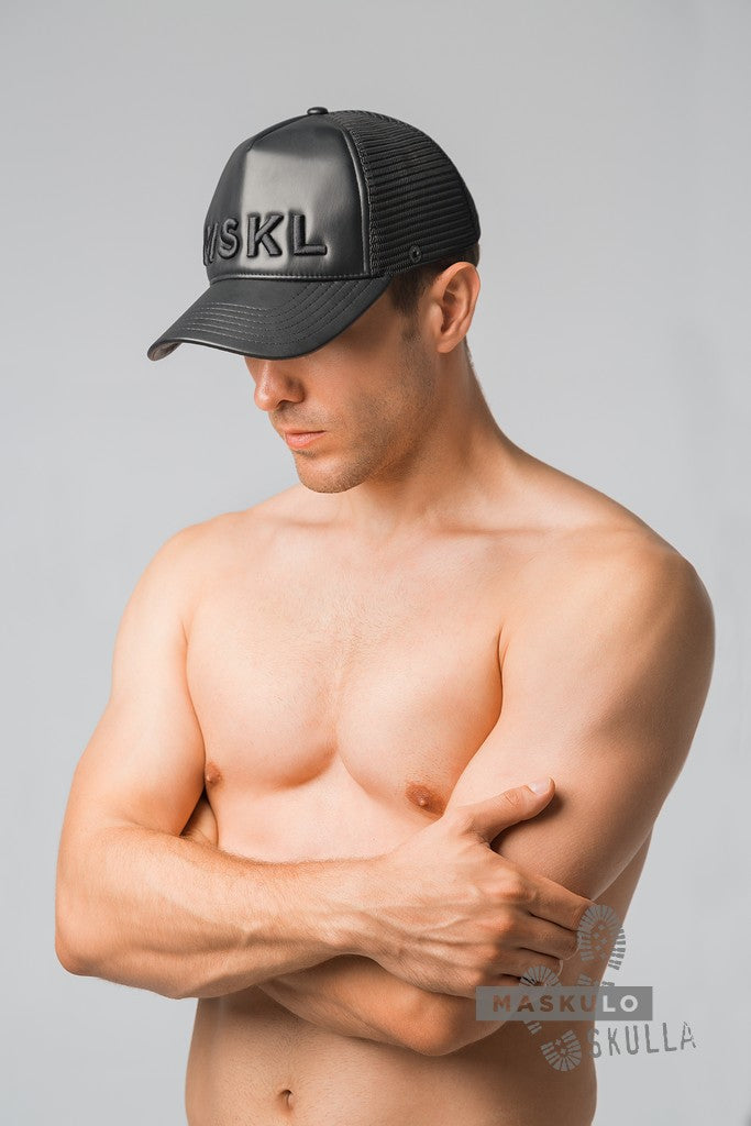 Skulla. Men's Fetish Leatherette Cap