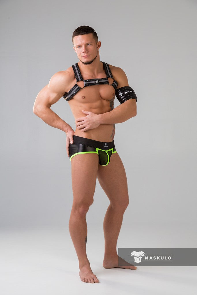 Markdown. Men's Fetish Briefs. Mesh Codpiece. Regular Rear. Neon. Rubber Logo
