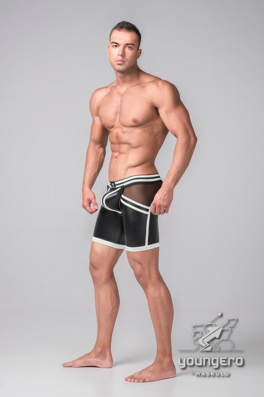 Youngero Generation Y. Men's Fetish Shorts. Codpiece. Open Rear