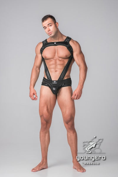 Youngero Generation Y. Men's Fetish Bulldog Harness with Cockring