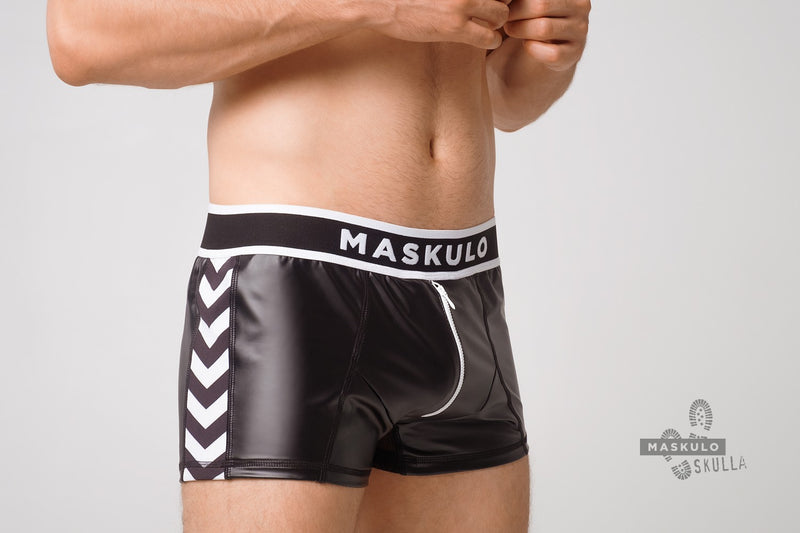 Markdown. Men's Fetish Leatherette Shorts. Shop Window Sample