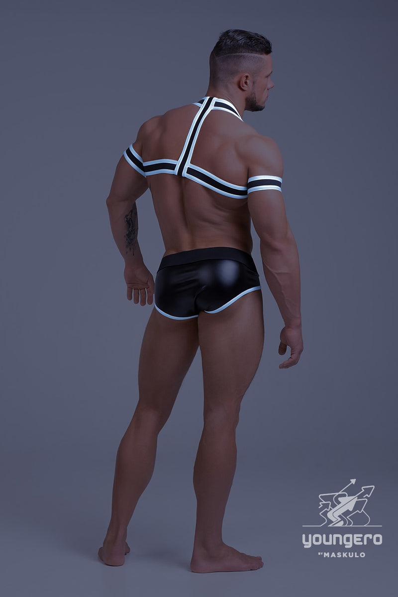Youngero. Rubber Harness with Biceps Bands. Neon