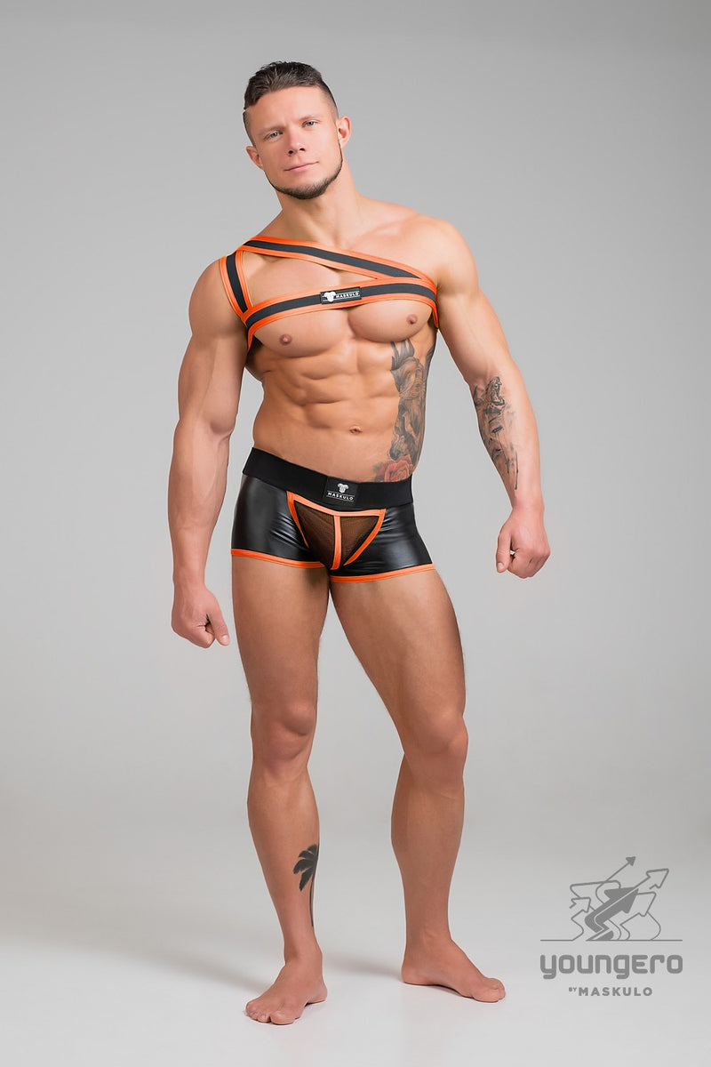 Youngero. Asymmetrical One Shoulder Rubber Harness. Neon
