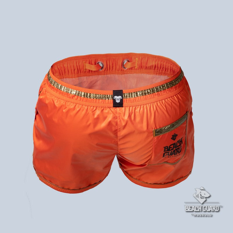 Beach Guard. Nylon Club Shorts with Foil Piping Details