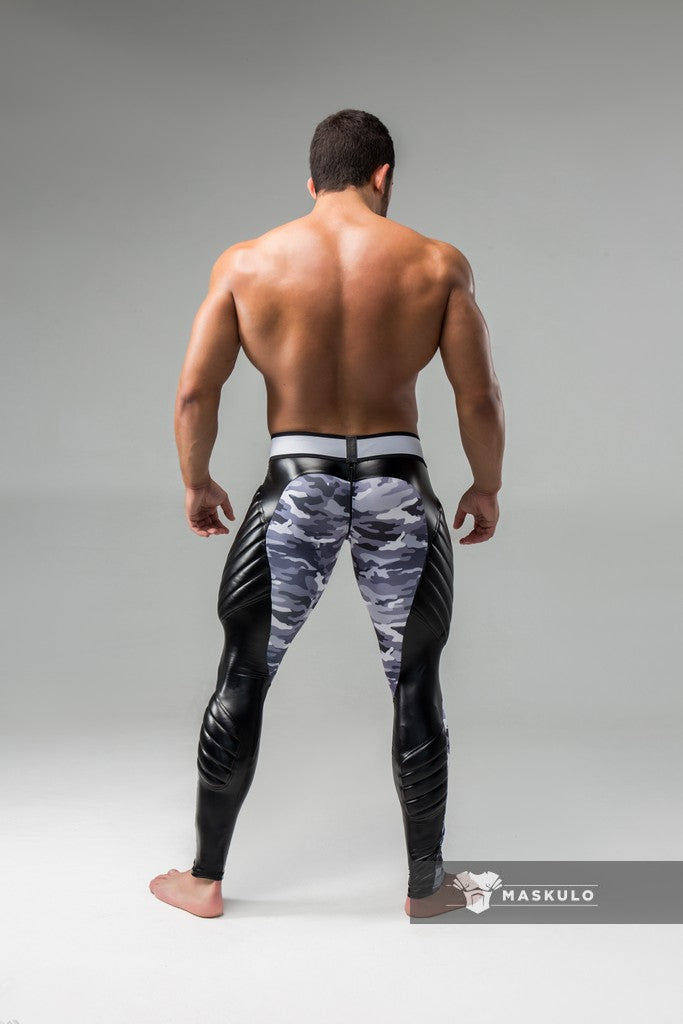 Armored. Men's Fetish Leggings. Codpiece. Zipped rear. Camo
