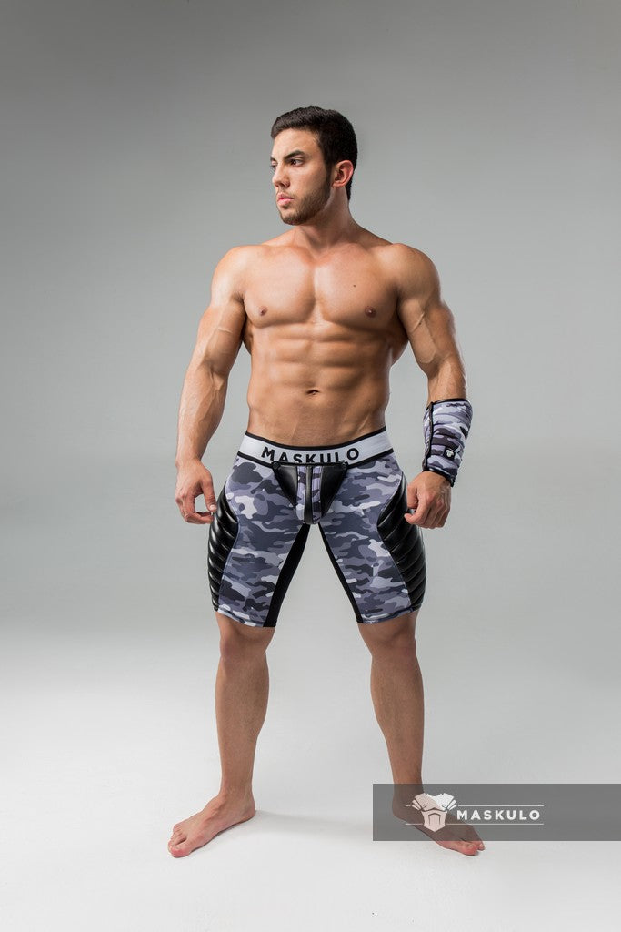 Men's Fetish Shorts. Codpiece, full thigh Pads. Zippered Rear. Camo