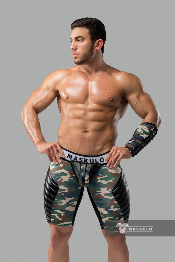 Armored. Men's Fetish Shorts. Codpiece. full thigh Pads. Zippered Rear. Camo