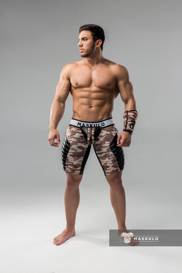 Markdown. Men's Fetish Shorts. Codpiece. full thigh Pads. Regular Rear. Camo Sand. Shop Window Sample