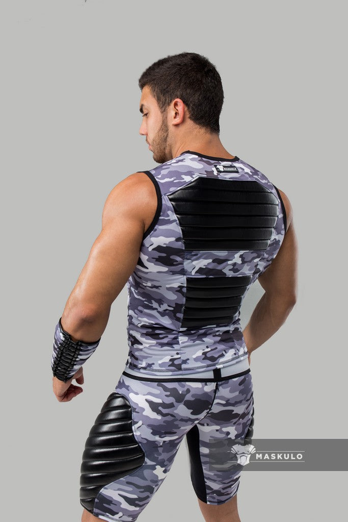 Markdown. Men's Fetish Tank Top. Spandex. Front Pads. Camo Grey. Shop Window Sample