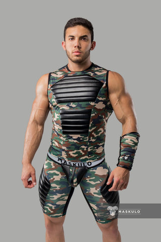 Men's Fetish Tank Top. Spandex. Front Pads. Camo