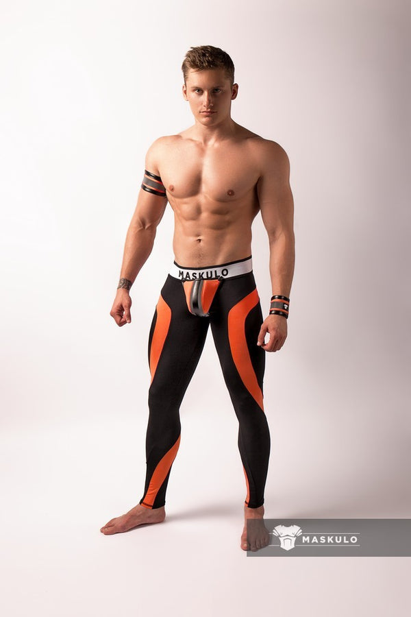 Youngero. Men's Fetish Leggings. Codpiece. Open Rear. Neon