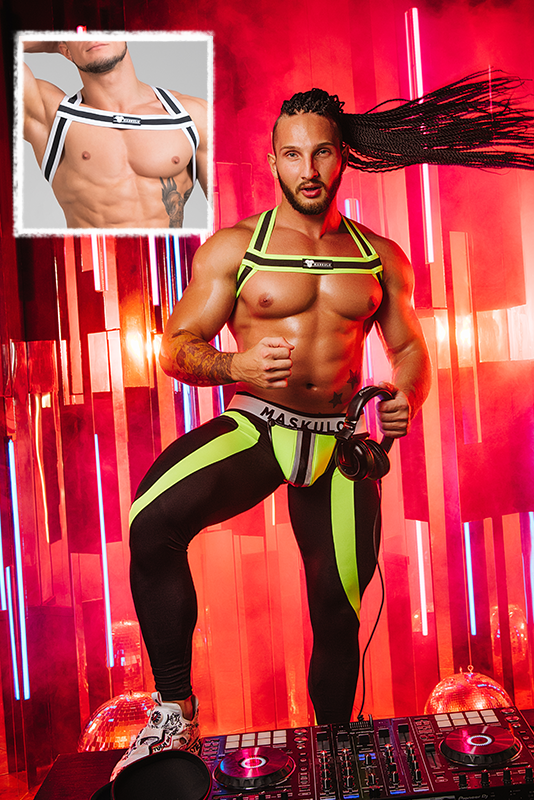 Youngero. Bulldog Elastic Harness. Neon