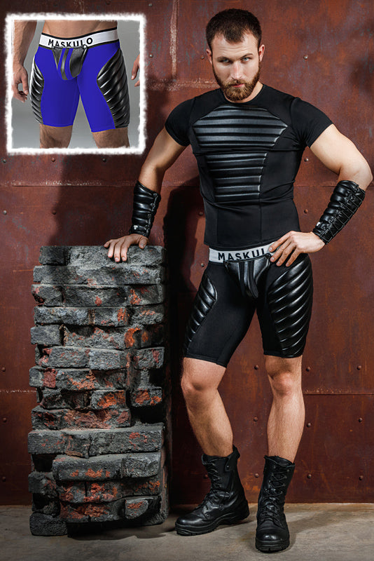 Armored. Men's Fetish Shorts. Codpiece. Full Thigh Pads