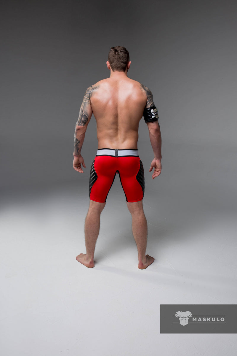 Markdown. Men's Fetish Shorts. Codpiece. Full thigh Pads. Mesh Pads