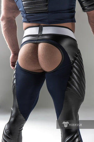 Men's Fetish Meggings. Codpiece, Open rear. Navy Blue + Black