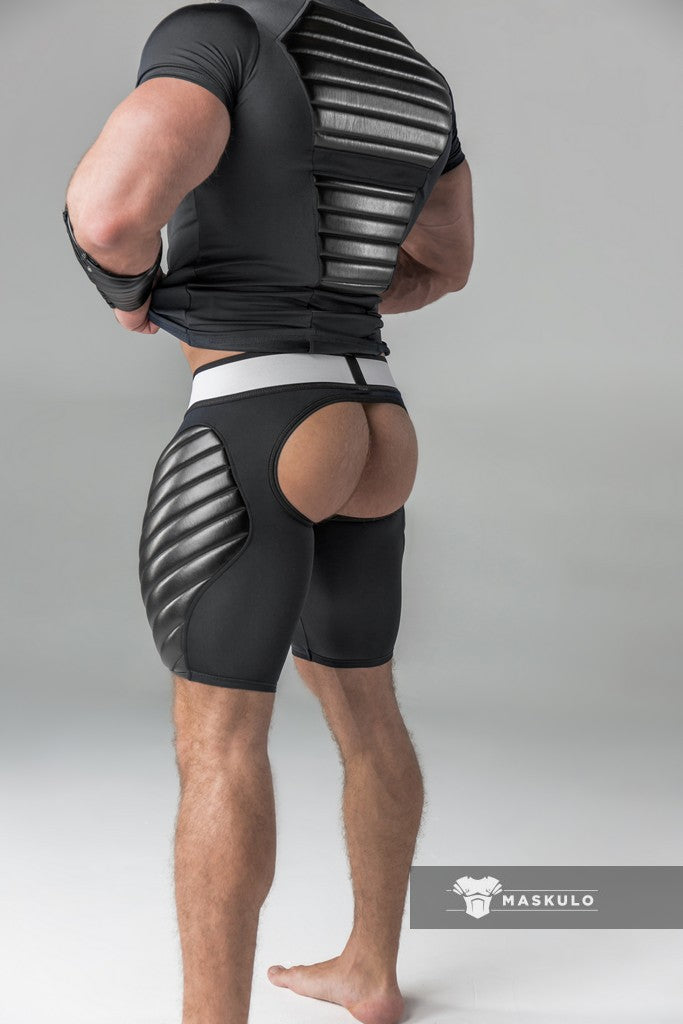Markdown. Men's Fetish Shorts. Codpiece. Open rear. Full thigh Pads. No inner thigh stripe.