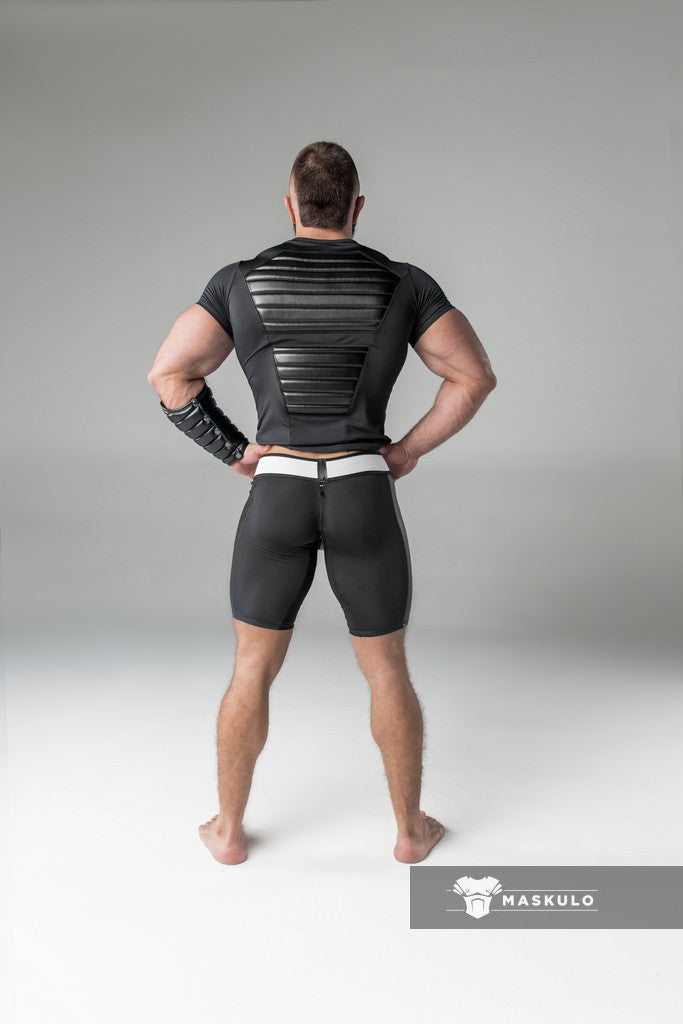 Armored. Men's Fetish Shorts. Codpiece. Rear Zipper
