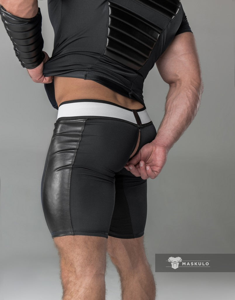 Men's Fetish Shorts. Codpiece. Rear Zipper. Black