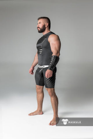 Men's Fetish Shorts. Codpiece, full thigh Pads. Zippered Rear. Black
