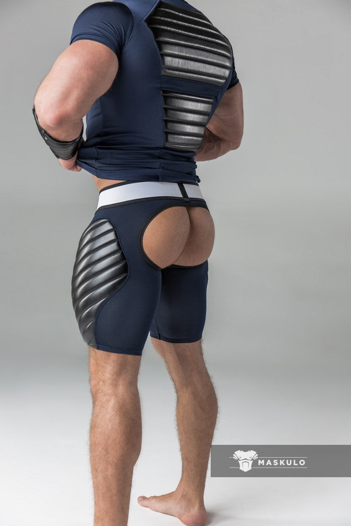 Armored. Men's Fetish Shorts. Codpiece. Open rear. Full thigh Pads. Nave Blue. Yellow